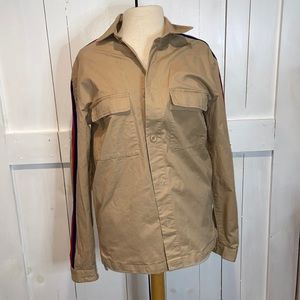 Urban Outfitters Tan Striped Sleeve Utility Jacket